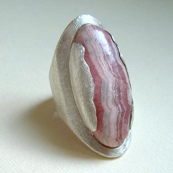 Silver and rhodochrosite ring